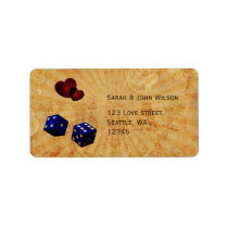 navy blue dice Vintage Vegas adress labels