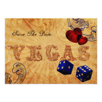 navy blue dice Vintage Vegas save the date Card