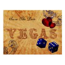 navy blue dice Vintage Vegas save the date Postcard