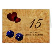 navy blue dice Vintage Vegas table numbers Card