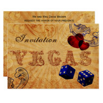 navy blue dice Vintage Vegas wedding invites