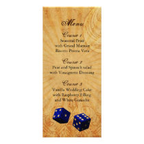 navy blue dice Vintage Vegas wedding menu