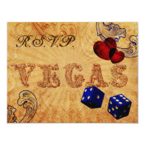 navy blue dice Vintage Vegas wedding rsvp Card