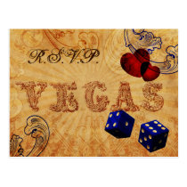 navy blue dice Vintage Vegas wedding rsvp Postcard