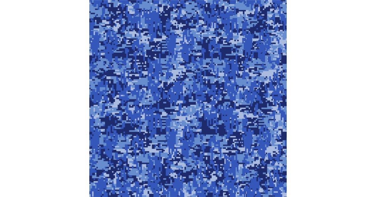 Navy Blue Digital Camo Camouflage Customizable Fabric