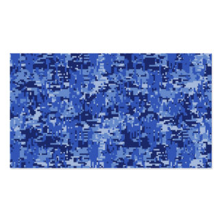 Navy Blue Digital Camo Camouflage Texture Business Card