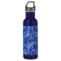 Navy Blue Digital Camo Camouflage Texture Stainless Steel Water Bottle
