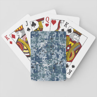 Navy Blue Digital Camouflage Design Playing Cards