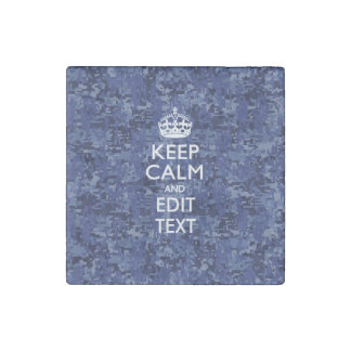 Navy Blue Digital Camouflage Keep Calm Text Stone Magnet