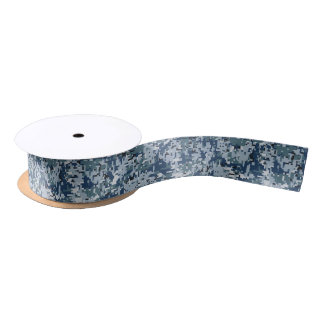 Navy Blue Digital Pixels Camouflage Decor Blank Ribbon