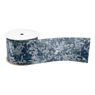 Navy Blue Digital Pixels Camouflage Decor Satin Ribbon