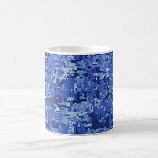 Navy Blue Digital Pixels Camouflage Texture Decor Coffee Mug