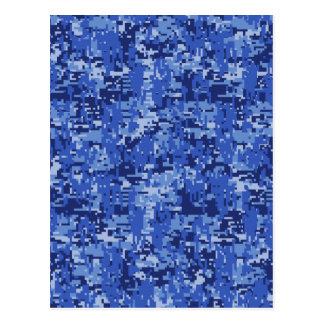 Navy Blue Digital Pixels Camouflage Texture Decor Postcard