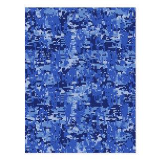 Navy Blue Digital Pixels Camouflage Texture Decor Postcard