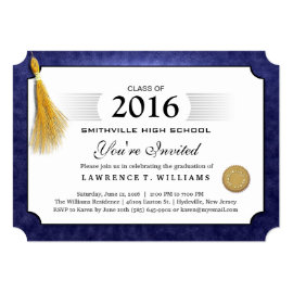 Navy Blue Diploma with Gold Tassel Graduation 5x7 Paper Invitation Card