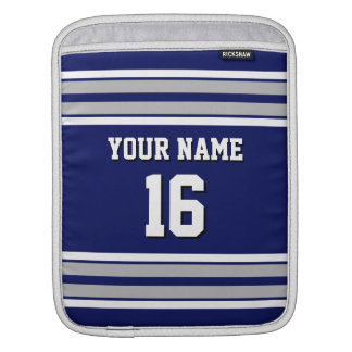 Navy Blue Dk Gray Team Jersey Custom Number Name Sleeve For iPads