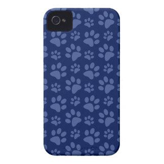 Navy blue dog paw print pattern Case-Mate iPhone 4 case