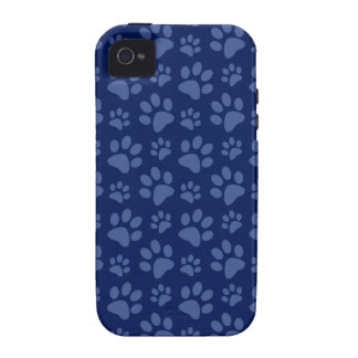 Navy blue dog paw print pattern case for the iPhone 4