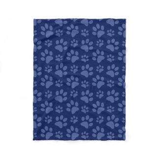 Navy blue dog paw print pattern fleece blanket