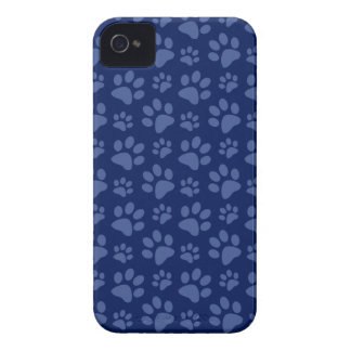 Navy blue dog paw print pattern iPhone 4 cover