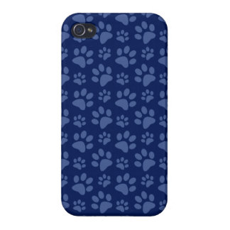 Navy blue dog paw print pattern iPhone 4/4S cover