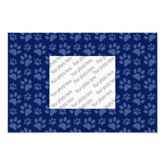 Navy blue dog paw print pattern photo print