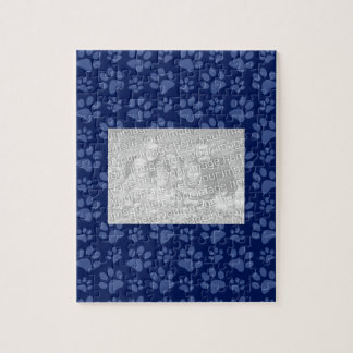 Navy blue dog paw print pattern puzzle