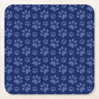 Navy blue dog paw print pattern square paper coaster