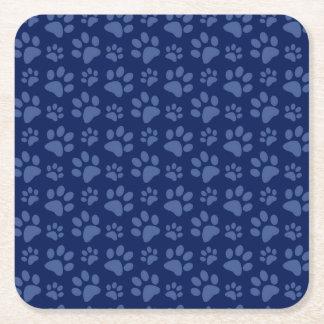 Navy blue dog paw print pattern square paper coaster