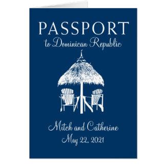 Navy Blue Dominican Republic Passport Wedding Card