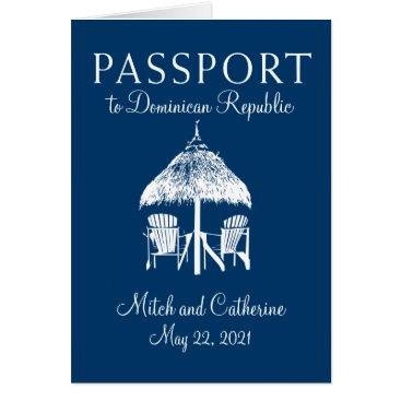 Beach Themed Navy Blue Dominican Republic Passport Wedding Card