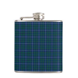 Navy Blue Douglas Clan Modern Scottish Plaid Flask