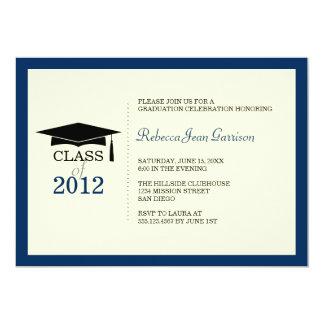 Navy blue ecru cap tassel graduation announcement