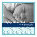 Navy blue elegant damask happy Hanukkah holiday 5.25x5.25 Square Paper Invitation Card