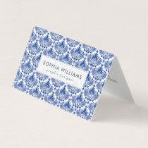 Navy-blue elegant damasks pattern business card