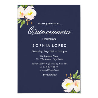 Navy Blue Elegant Floral Quinceanera Invitation