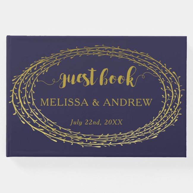 Navy Blue Elegant Gold Wreath Wedding Guest Book