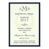 Navy Blue Elegant Monogram Graduation Announcement