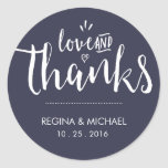Navy Blue Elegant Script Wedding Thank You Sticker at Zazzle