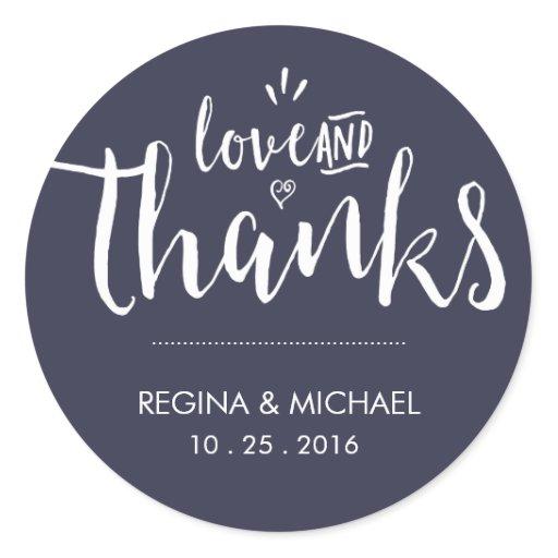 Navy Blue Elegant Script Wedding Thank You Sticker