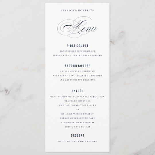 navy blue elegant wedding formal dinner menu zazzle com