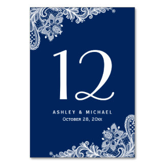 Navy Blue Elegant White Lace Wedding Table Number