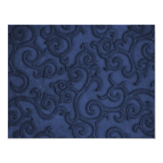 Navy Blue Embossed Look Scrolls Personalized Announcements