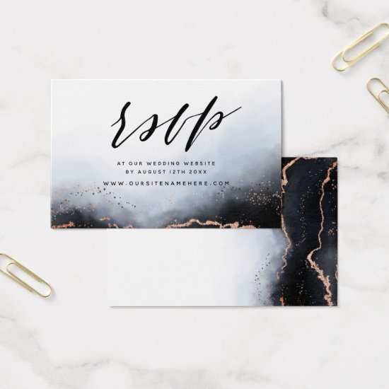 Navy Blue Ethereal Mist Website RSVP Insert Cards