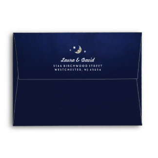 Navy Blue Fade MOON & STARS Matching Wedding Envelope