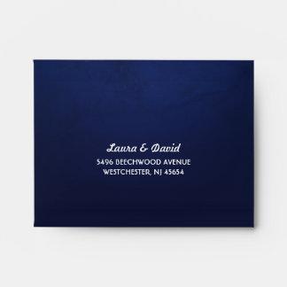 Navy Blue Fade & White Moon & Stars RSVP RETURN Envelope