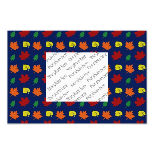 navy blue fall leaves photographic print