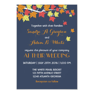 Navy Blue Falling Maple Leaves Wedding Invitation 5