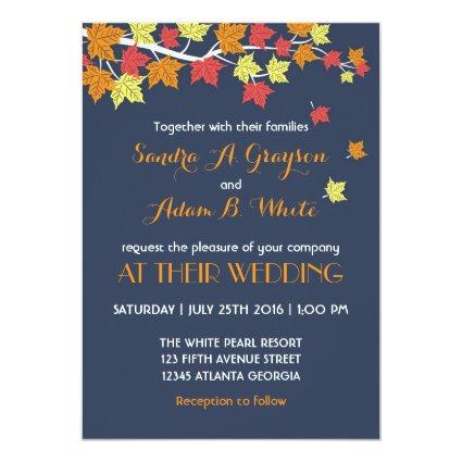 "Navy Blue Falling Maple Leaves Wedding Invitation 5"" X 7"" Invitation Card"