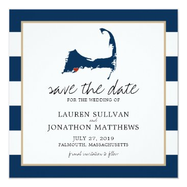 Navy Blue Falmouth Cape Cod Map Save the Date Card
